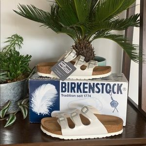 Birkenstock Florida Pearly White Sandals Size 6